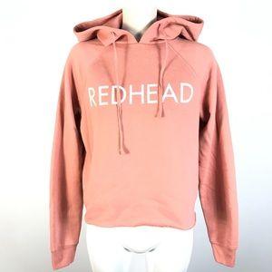 Brunette redhead cropped hoodie